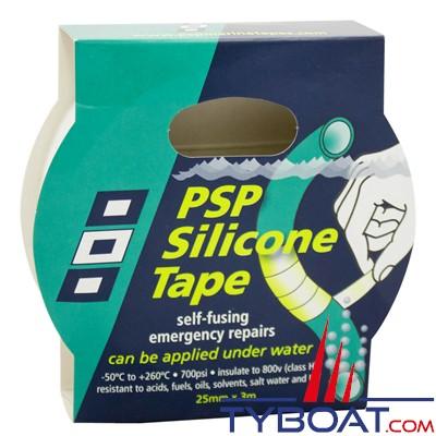 PSP Marine Tapes - Rouleau silicone autofusionnant longueur 3 m x largeur 25mm - Blanc