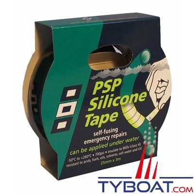 PSP Marine Tapes - Rouleau silicone autofusionnant longueur 3 m x largeur 25mm - noir