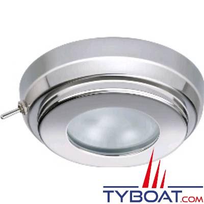 Quick - Plafonnier LED Tims Inox - 10/15 Volts - Blanc naturel - Avec interrupteur - Ø 90 mm