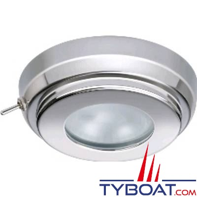QUICK - Plafonnier LED TIMS Inox 10-15V avec interrupteur Ø90mm