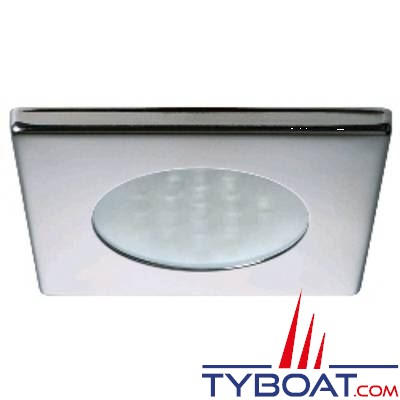 Quick - Spot carré LED Bryan Inox - 10/30 Volts - Blanc naturel - Ø 72 mm