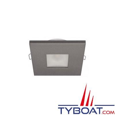 Quick - Spot carré LED Edwin N plastique gris - 10/30 Volts - Blanc chaud - Ø 72 mm