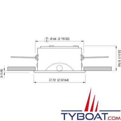 QUICK - Spot carré Powerled MARINA Inox 10-30V  IP65 Ø72mm