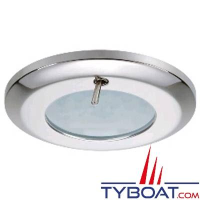 Quick - Spot LED Selene Inox - 10/30 Volts - Blanc naturel - Avec interrupteur - Ø 77 mm