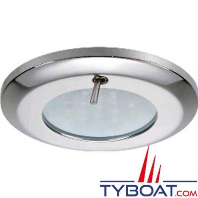 Quick - Spot LED Selene Inox - 10/30 Volts - Bland chaud - Avec interrupteur - Ø 77 mm