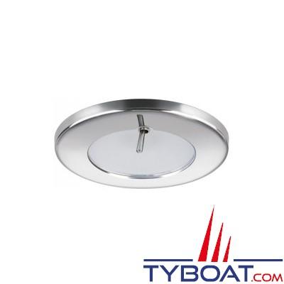Quick - Spot LED Ted Inox - 10/30 Volts - Blanc chaud - Avec interrupteur - Ø 72 mm
