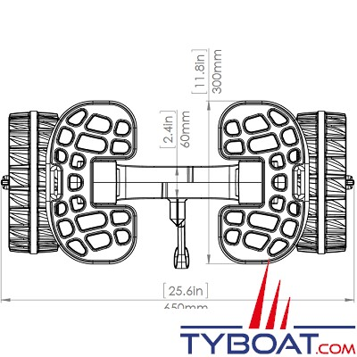 RAILBLAZA - Chariot demontable - C-Tug avec roues anti crevaison - Charge 120 Kilos