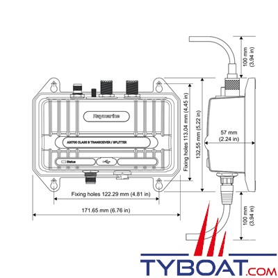 RAYMARINE - Transpondeur AIS avec splitter AIS700 classe B - 5 Watts - NMEA0183/SeaTalk NG/NMEA2000/USB