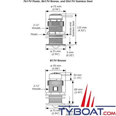 Garmin - Sonde traversante plastique DST810 - 235 KHz - Triducer profondeur/vitesse/température - Connecteur Micro-C / Bluetooth