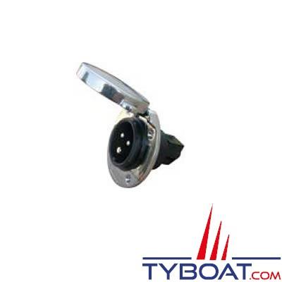 Socle de bord mâle 2P + T 220v-16A inox