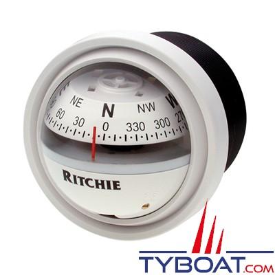 RITCHIE - Compas pour tableau de bord V-57W.2  série Explorer - couleur blanc / lecture blanche