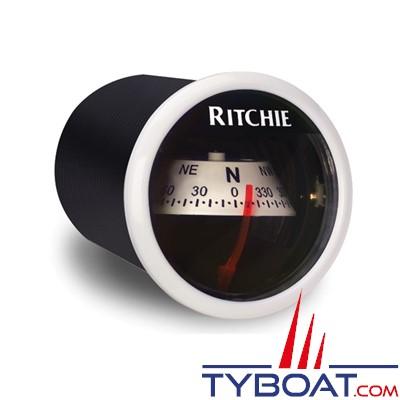 RITCHIE - Compas pour tableau de bord X-21WW  série RitchieSport - couleur blanc / lecture blanche