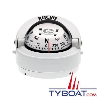 RITCHIE - Compas sur fût S-53W série Explorer - couleur blanc / lecture blanche