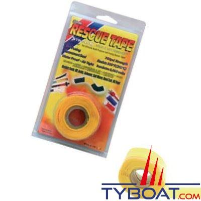 Rouleau silicone autofusionnant Rescue Tape longueur 3,65 m x largeur 2,55 cm jaune