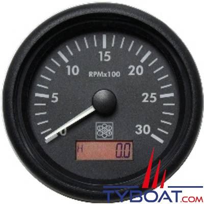S.E.I.N - Compte-tours avec horamètre Ø85mm - 12/24V 0-3000 Tr/min - Borne W