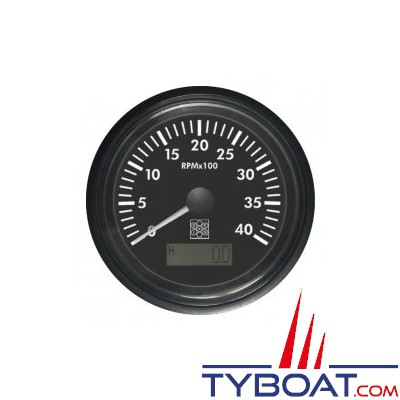 S.E.I.N - Compte-tours avec horamètre Ø85mm - 12/24V 0-4000 Tr/min - Borne W