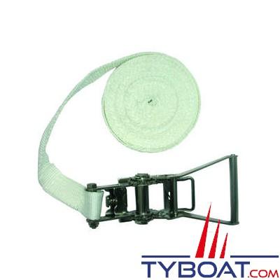 Sangle à cliquet Euromarine polyester 10 m x 35 mm R = 2000 DAN avec boucle à cliquet