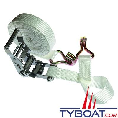 Sangle à cliquet Euromarine polyester 7 m x 35 mm R = 2000 DAN avec boucle à cliquet + 2 crochets doigts soudés