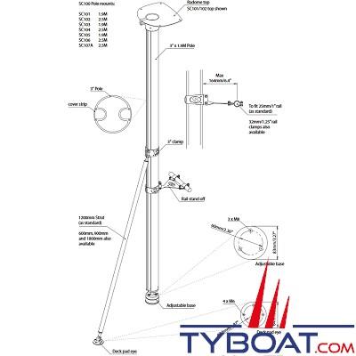 Scanstrut - SC105-45 Mâtereau complet - 190 cm - pour antenne Satcom/Tv de 40cm