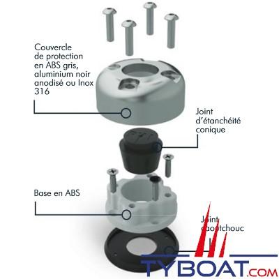 SEAVIEW - Passe câble en Alu anodisé noir, étanche, résistant aux UV : Câble de 8 à 15 mm, prise de 35mm