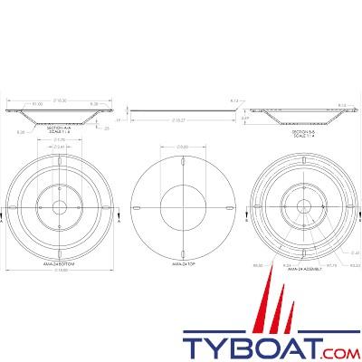 SEAVIEW - Réducteur pourKVH M7, Intellian i6, Ray 60STV, SeaTel 24 - compatible avec cale AMA-W