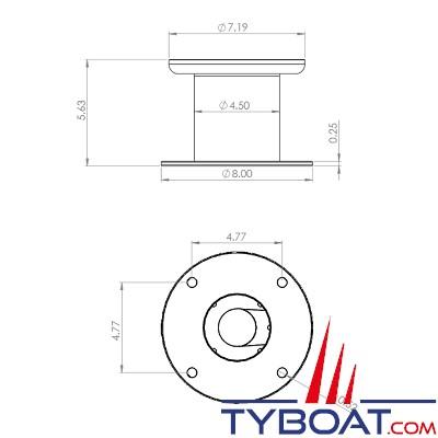 """SEAVIEW - Support 5"""" (127mm) verticale pour caméras série M ou T / base ronde de 8"""""""