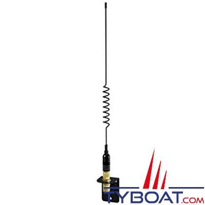Shakespeare - Antenne fouet inox noire - Spéciale coque Open - 0.3m - Connecteurs plaqués or - Support