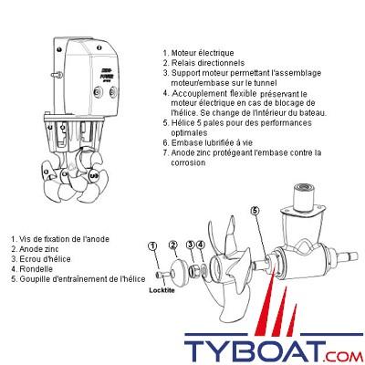 Side Power - écrou d'hélice pour propulseur SE60-80-100