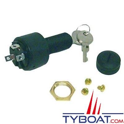 Contacteur à clé  3 positions : off - marche - démarrage /épaisseur 16mm