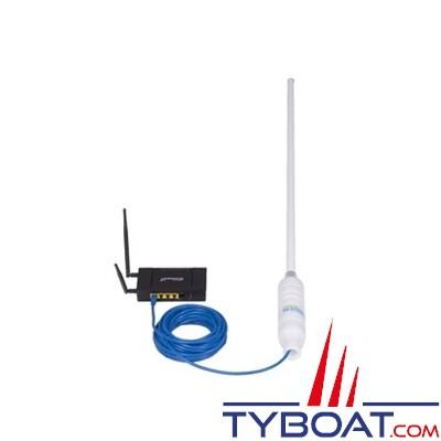 Antenne WIFI active  8,5 dBi 74 cm Web-Catcher RJ45 avec routeur et câble LAN 20 mètres