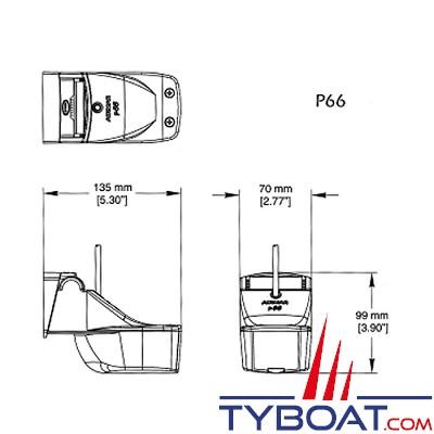 Sonde tableau arrière plastique Airmar P66 DsT 50/200 kHz  profondeur/température/vitesse avec connecteur FURUNO (10 broches)