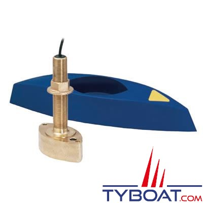 Sonde traversante bronze Airmar B45DT 600W - 50/200 KHz profondeur et température - connecteur Bleu Simrad / Lowrance / B&G