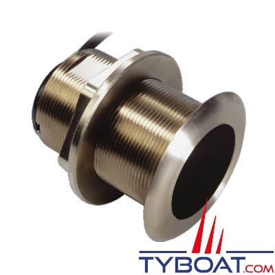 Sonde traversante bronze Airmar B60 DT 600W - 50/200 KHz profondeur et température - angle 20° - connecteur Bleu Simrad / Lowrance / B&G