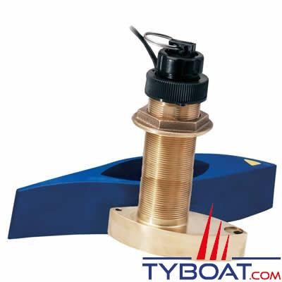 Sonde traversante bronze Airmar B744VL (filetage long) 600W - 50/200 KHz triducer avec fairing block - connecteur Bleu Simrad / Lowrance / B&G