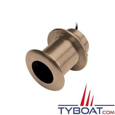 Sonde traversante bronze Garmin 77/200kHz - 600W - Angle  12° Prof. / Temp. (câble 12m) - connecteur 8 broches