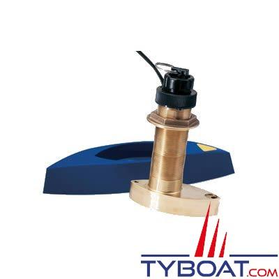 Sonde traversante bronze Raymarine B744VL (filetage long) 600W 50/200 KHz triducer vitesse/profondeur/température - avec fairing block