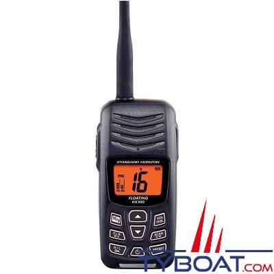 Standard Horizon - VHF marine portable HX210E - 6 watts - IPX 7 étanche et flottante, avec chargeur et clip