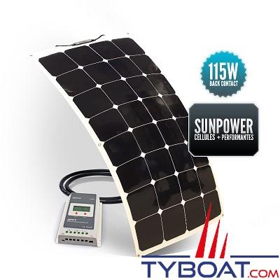 Sunpower - Kit panneau solaire souple 115 watts - 12 volts - Régulateur MPPT