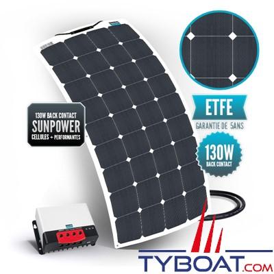 Sunpower - Kit panneau solaire souple 130 watts - 12 volts - Régulateur MPPT