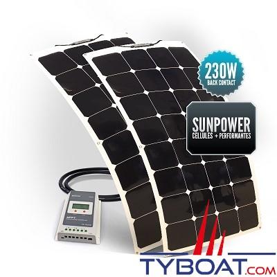 Sunpower - Kit panneaux solaires souples 230 watts - 12 volts - Régulateur MPPT - (2 panneaux de 115 watts)