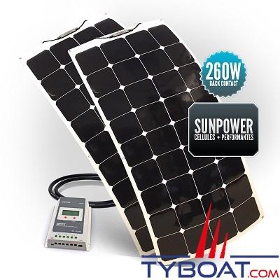 Sunpower - Kit panneaux solaires souples 260 watts - 12 volts - Régulateur MPPT - (2 panneaux de 130 watts)