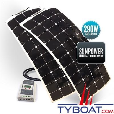 Sunpower - Kit panneaux solaires souples 290 watts - 12 volts - Régulateur MPPT - (2 panneaux de 145 watts)
