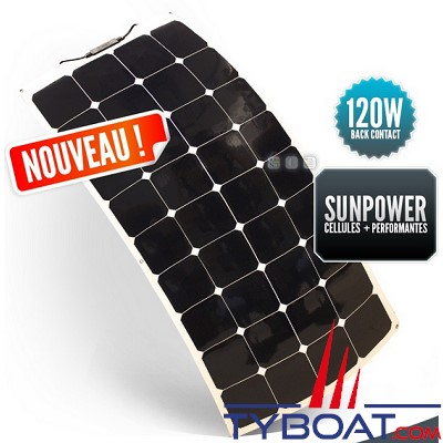 SUNPOWER - Panneau solaire souple 12 Volts 120 Watts - Back Contact - 540 x 1200 x 3 mm