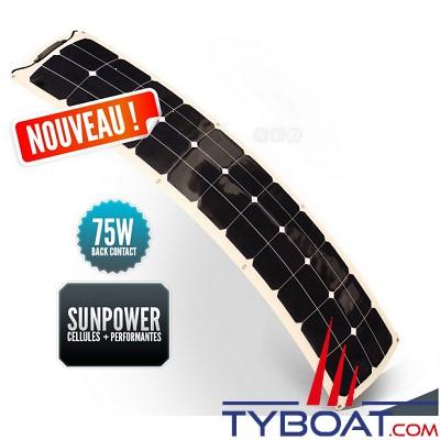 SUNPOWER - Panneau solaire souple 12 Volts  75 Watts - Back Contact - 300 x 1450 x 3 mm