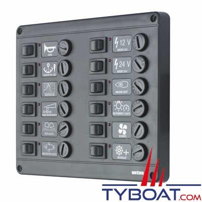Tableau électrique Vetus P12F 12 volts 12 interrupteurs et fusibles