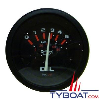 TELEFLEX - indicateur de pression d'huile  AMEGA 62155E - noir Ø52mm 0-5bars