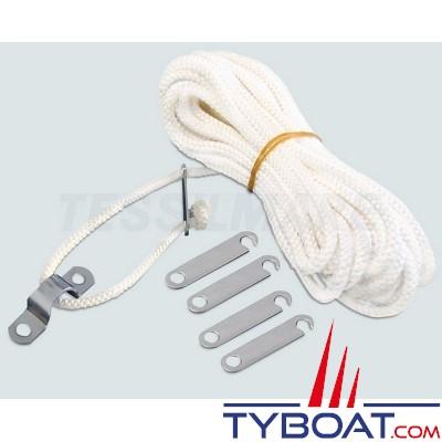 Tessilmare - Bimini aluminium triple arceaux - Ø20 mm - 185 x 180 x 140 cm - Blanc