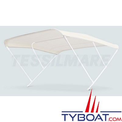 Tessilmare - Bimini aluminium triple arceaux - Ø20 mm - 225 x 180 x 140 cm - Blanc