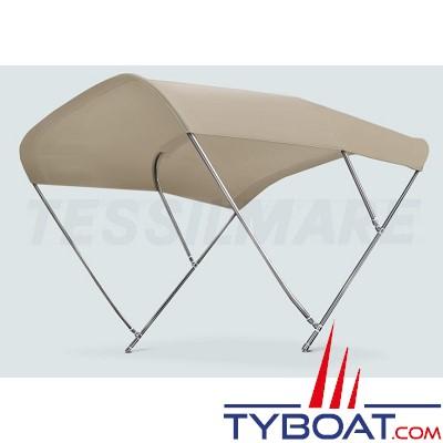 Tessilmare - Tissu pour capote Bimini - Beige - Imperméable - 100 % polyester - Largeur 170 cm