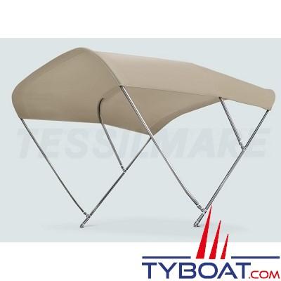 Tessilmare - Tissu pour capote Bimini - Beige - Imperméable - 100 % polyester - Largeur 245 cm
